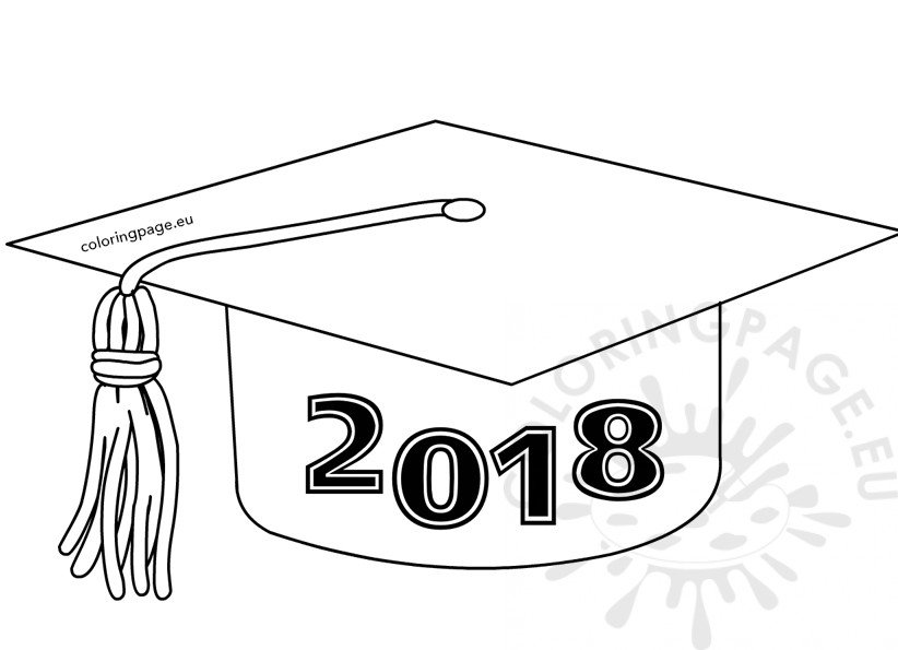 Class of 2018 graduation cap template coloring page for Graduation coloring pages to print