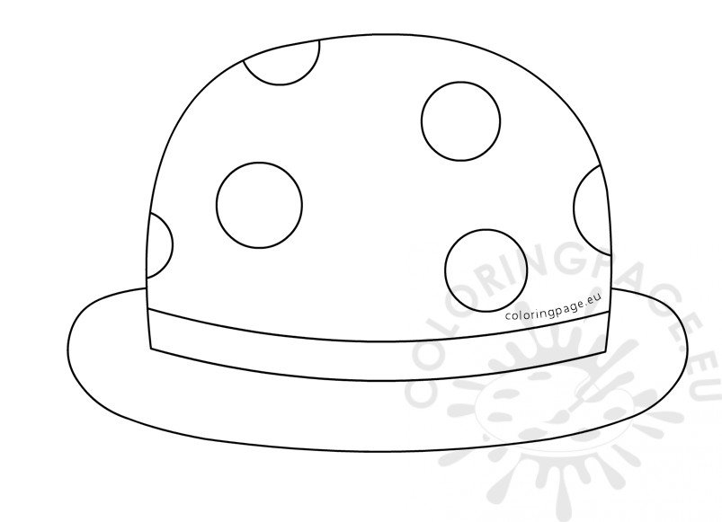 Clown bowler hat men coloring page for Clown hat template