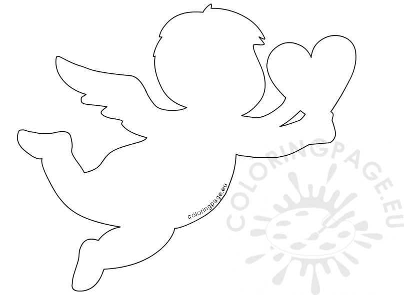 Valentine S Day Cupid Holding Heart Coloring Page