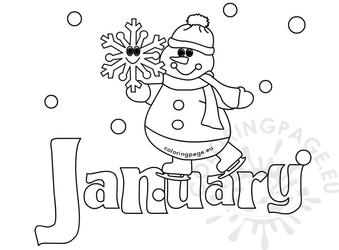 January Coloring Pages Winter Coloring Page January Snowman  Coloring Page