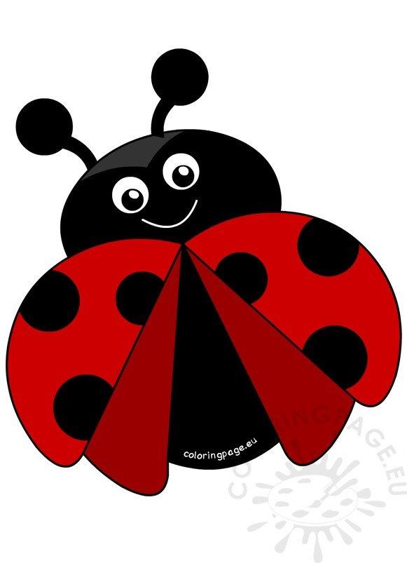 Ladybug Happy Flying on white background – Coloring Page