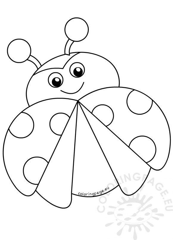 Ladybug Happy Flying Cartoon Vector Illustration