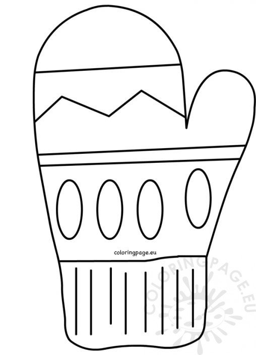 Printable Mitten Pattern Template Sketch Coloring Page