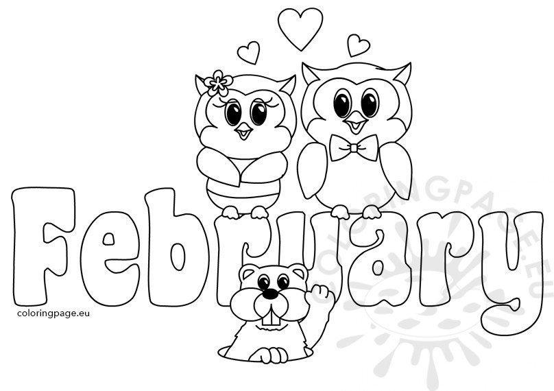 february coloring pages printables | Clipart Month Of February Text – Coloring Page