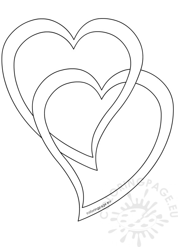 2 Hearts united Outline to Color
