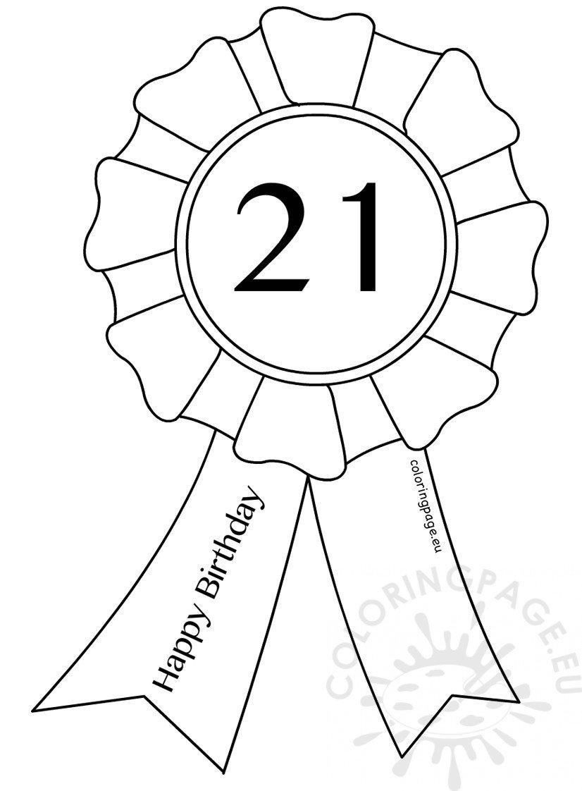 21st Birthday Award Ribbon Template Coloring Page