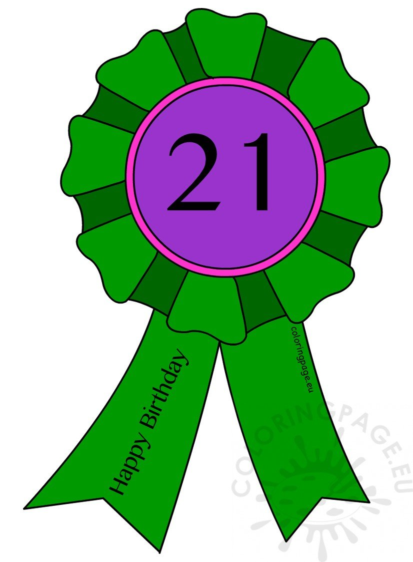 photo regarding Printable Ribbon called Printable 21st Birthday Award Ribbon Coloring Webpage