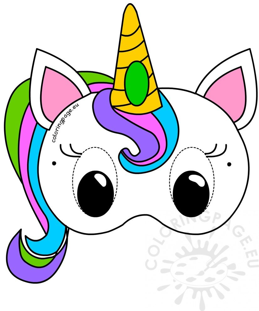 Child Unicorn colouring mask