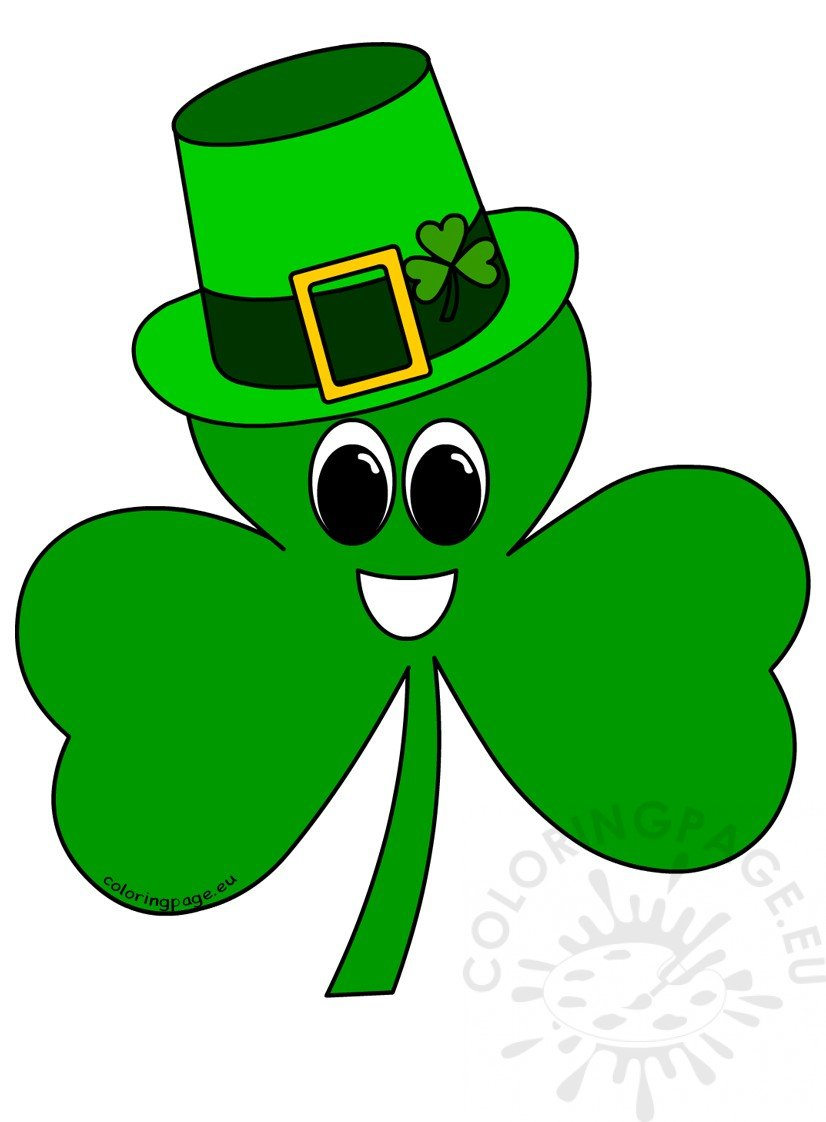 St Patrick\'s Day Clover wearing a hat | Coloring Page