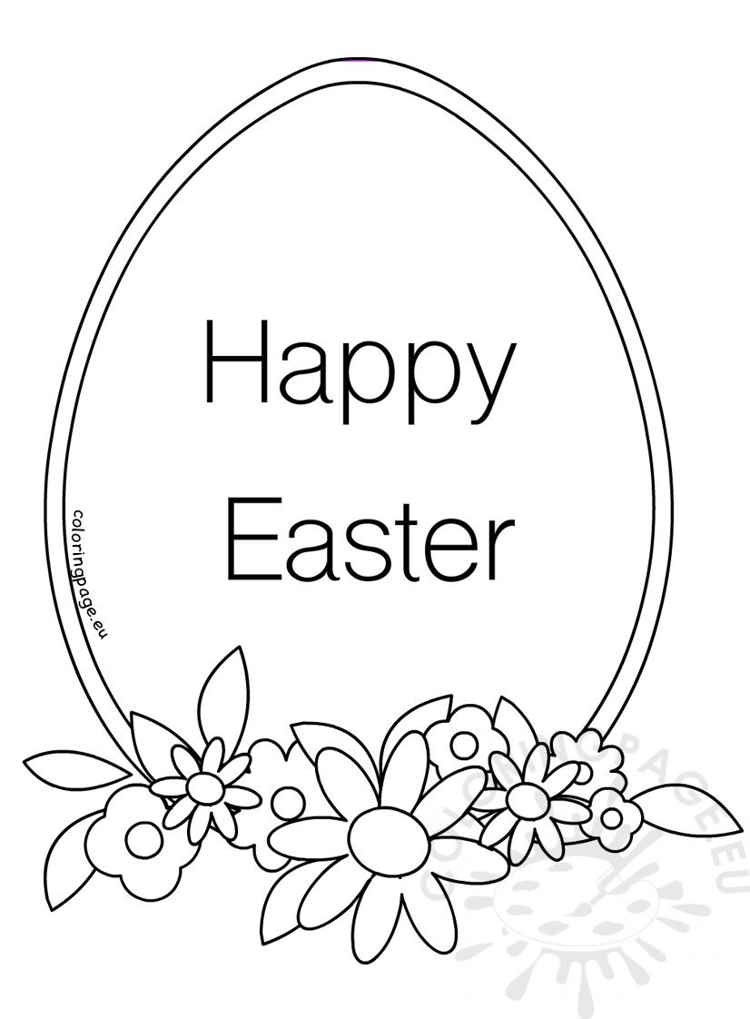 Easter egg with flowers and leaves coloring book