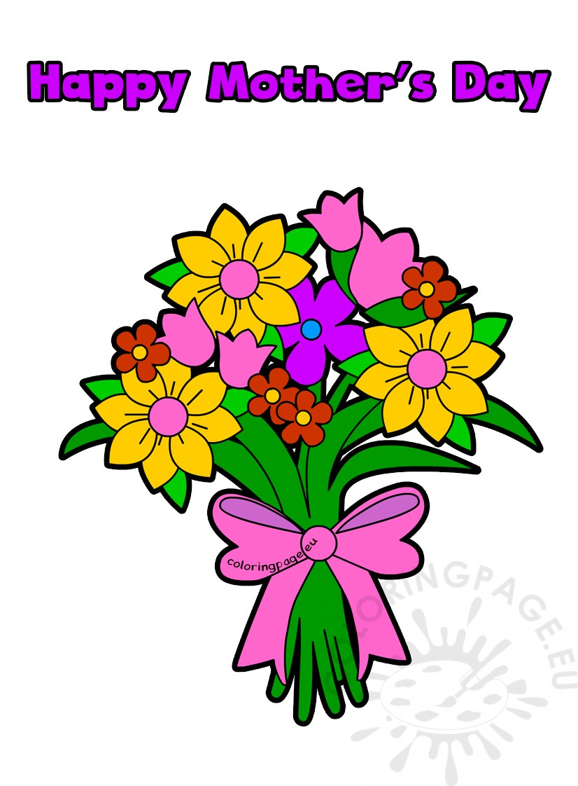 Flower Bouquet Happy Mother\'s Day Card | Coloring Page