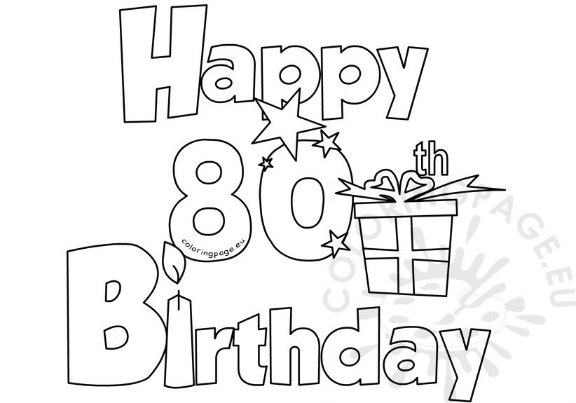 Happy 80 Birthday coloring card