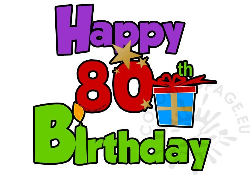 Happy 80th birthday greeting card coloring page happy 80th birthday greeting card m4hsunfo
