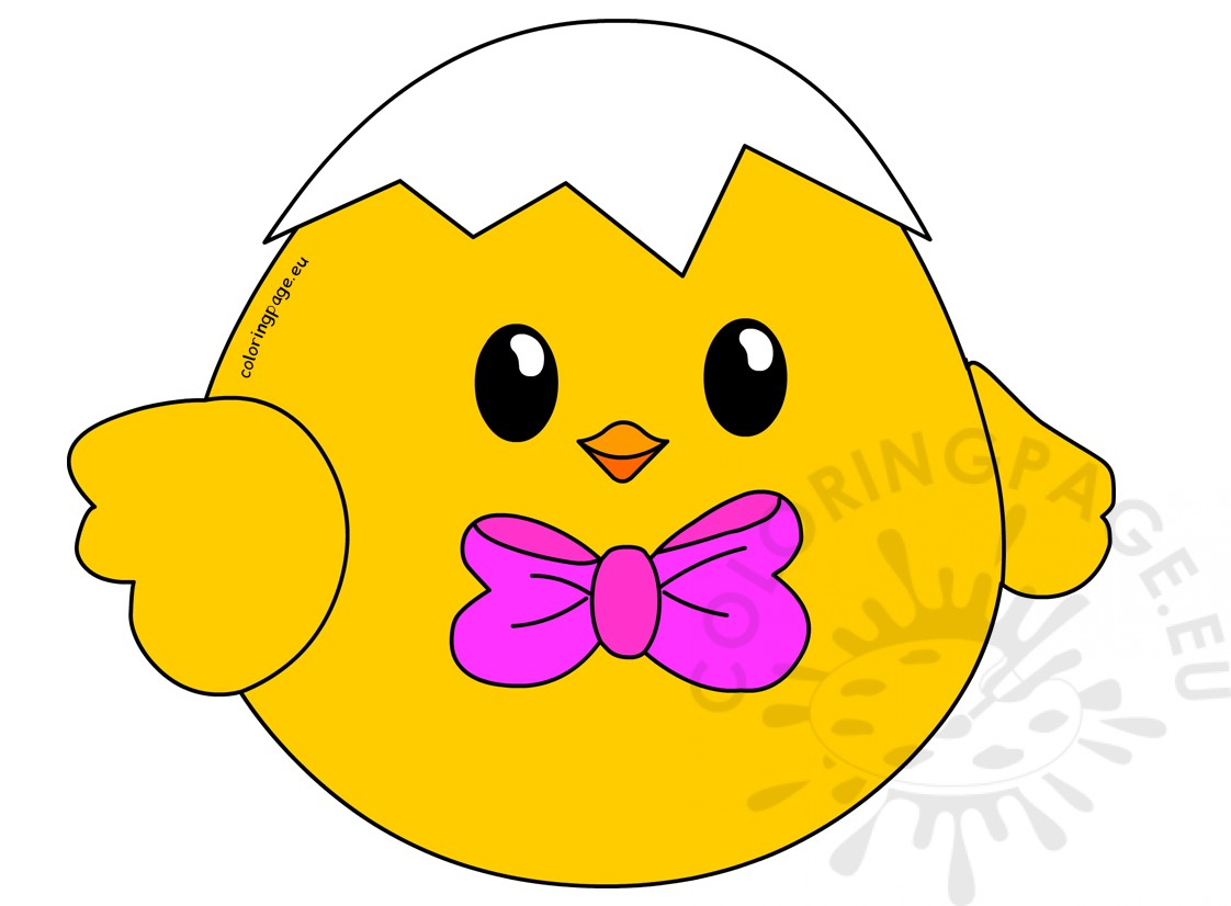 Little Easter Chick with bow clipart