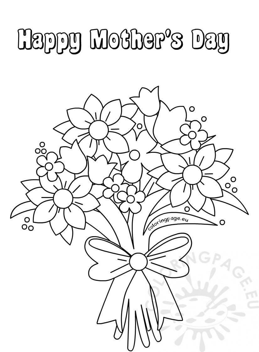 cute flower bouquet card for Mother's Day