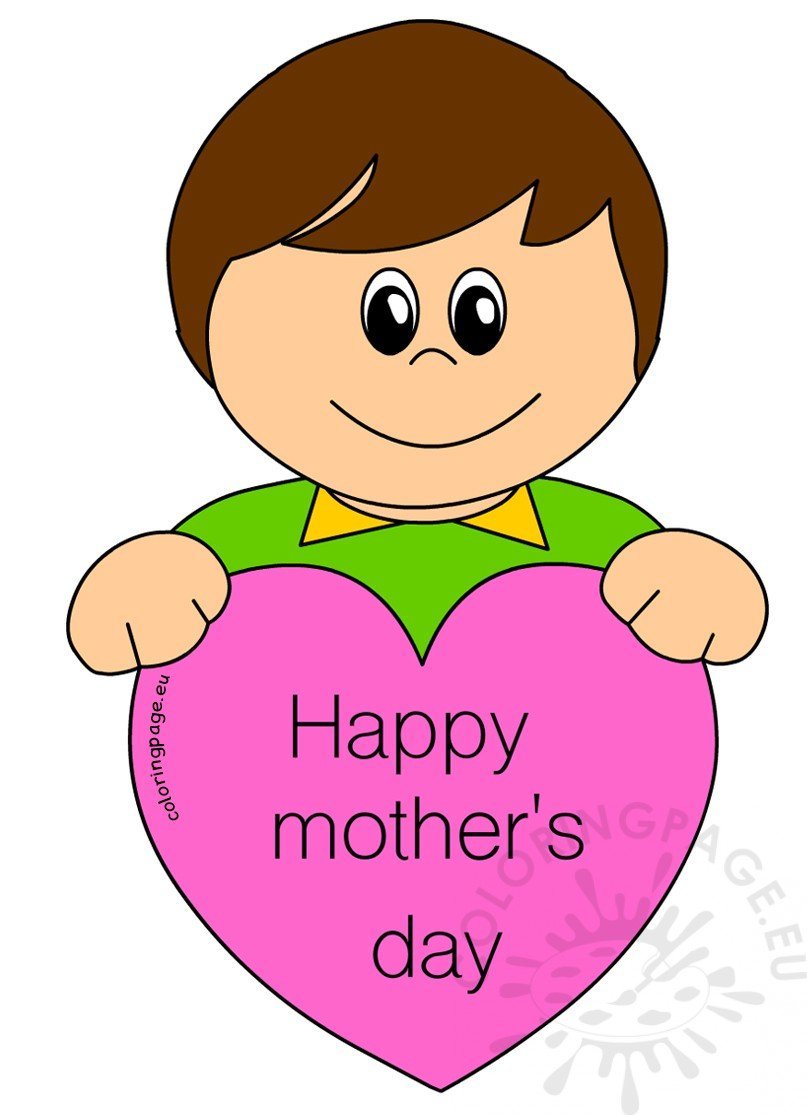 Mother's Day Card for Kids Boy with heart