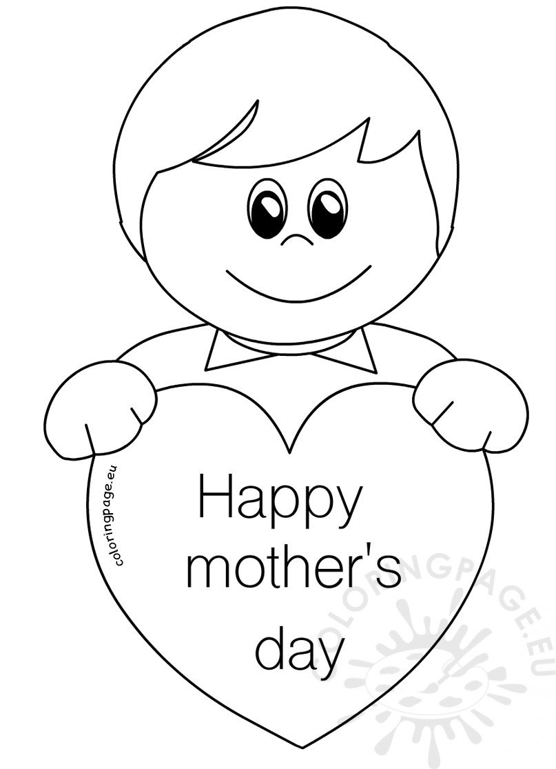 Boy with heart Mother's Day Card for Kids