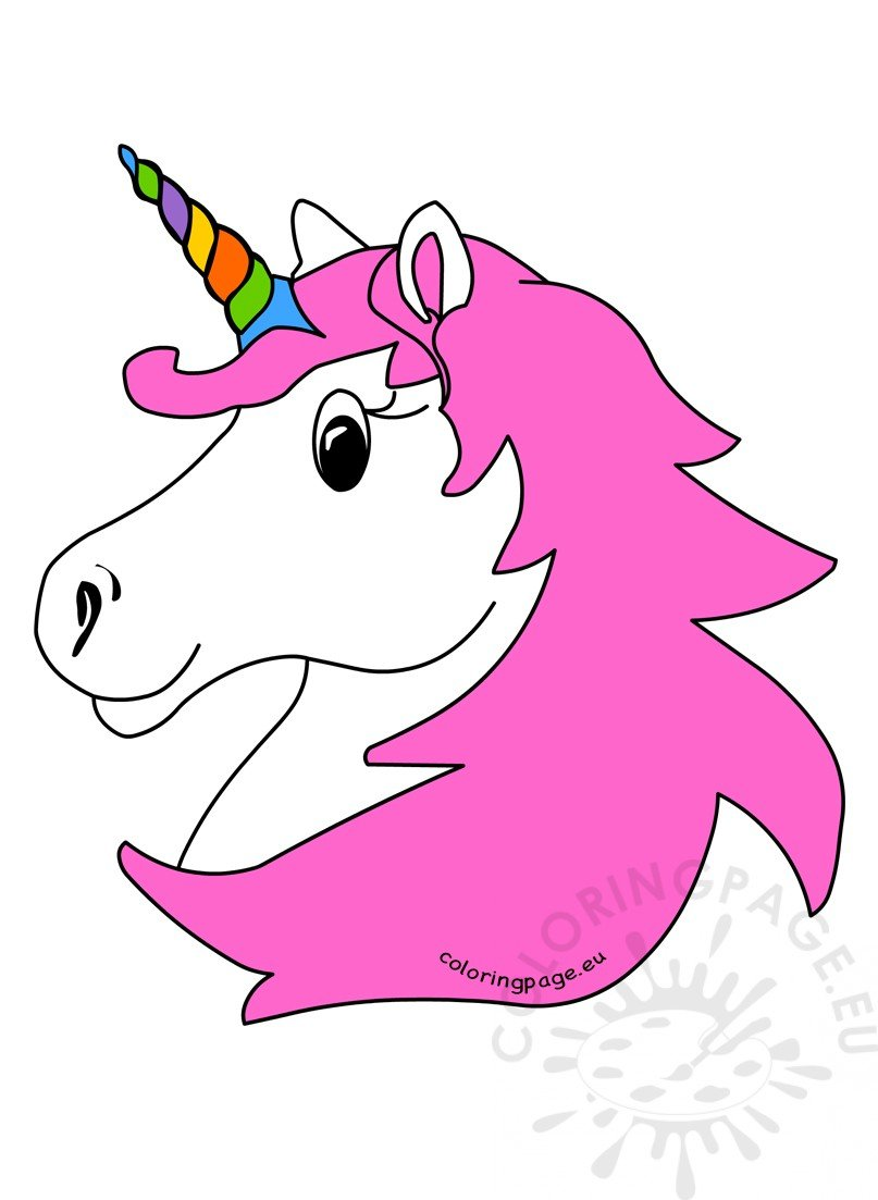 unicorn head with rainbow horn and pink hair
