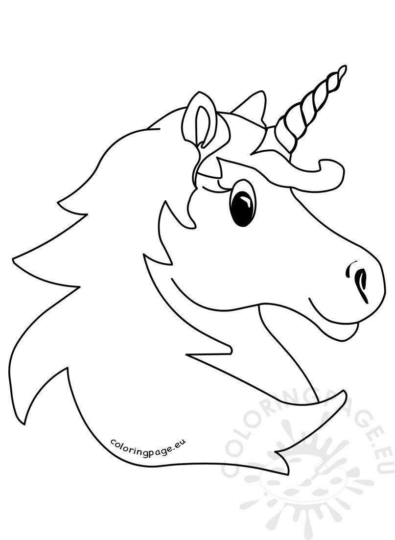 Vector illustration Magic unicorn head - Coloring Page