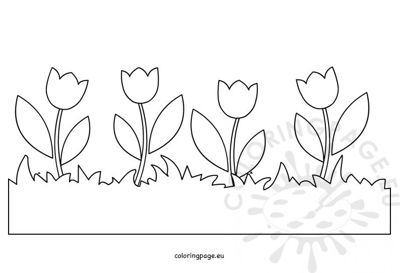 Flower Border Coloring Page Grass With Tulips