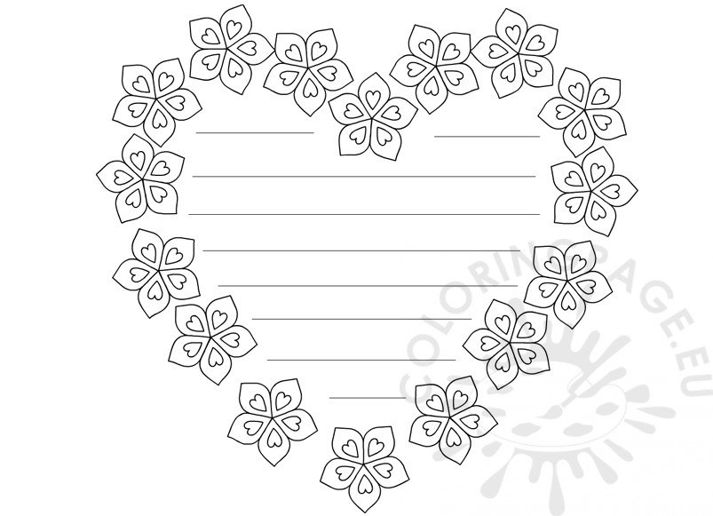 Heart with flowers writing paper