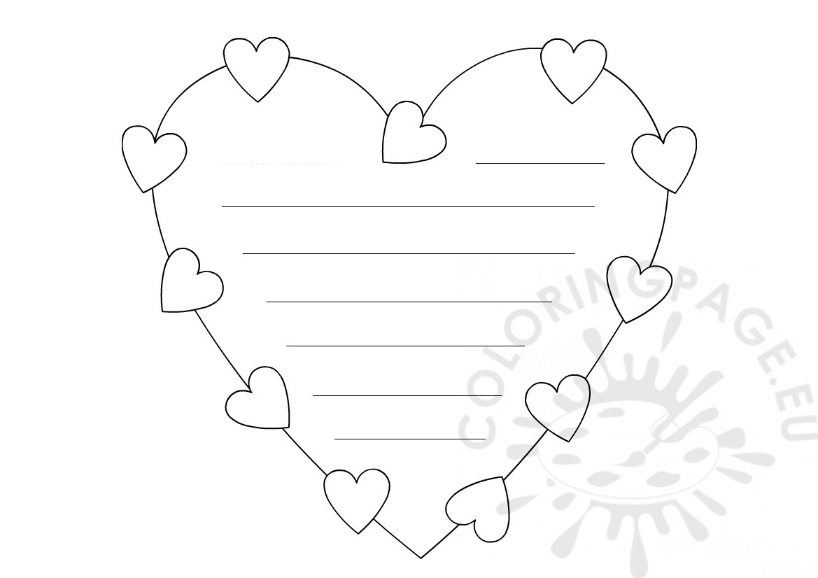 Heart writing paper template