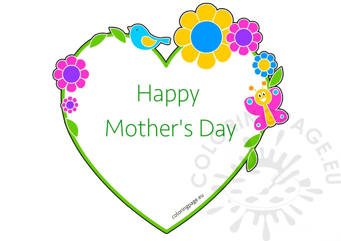 Mother\'s Day card Heart shaped frame with flowers | Coloring Page