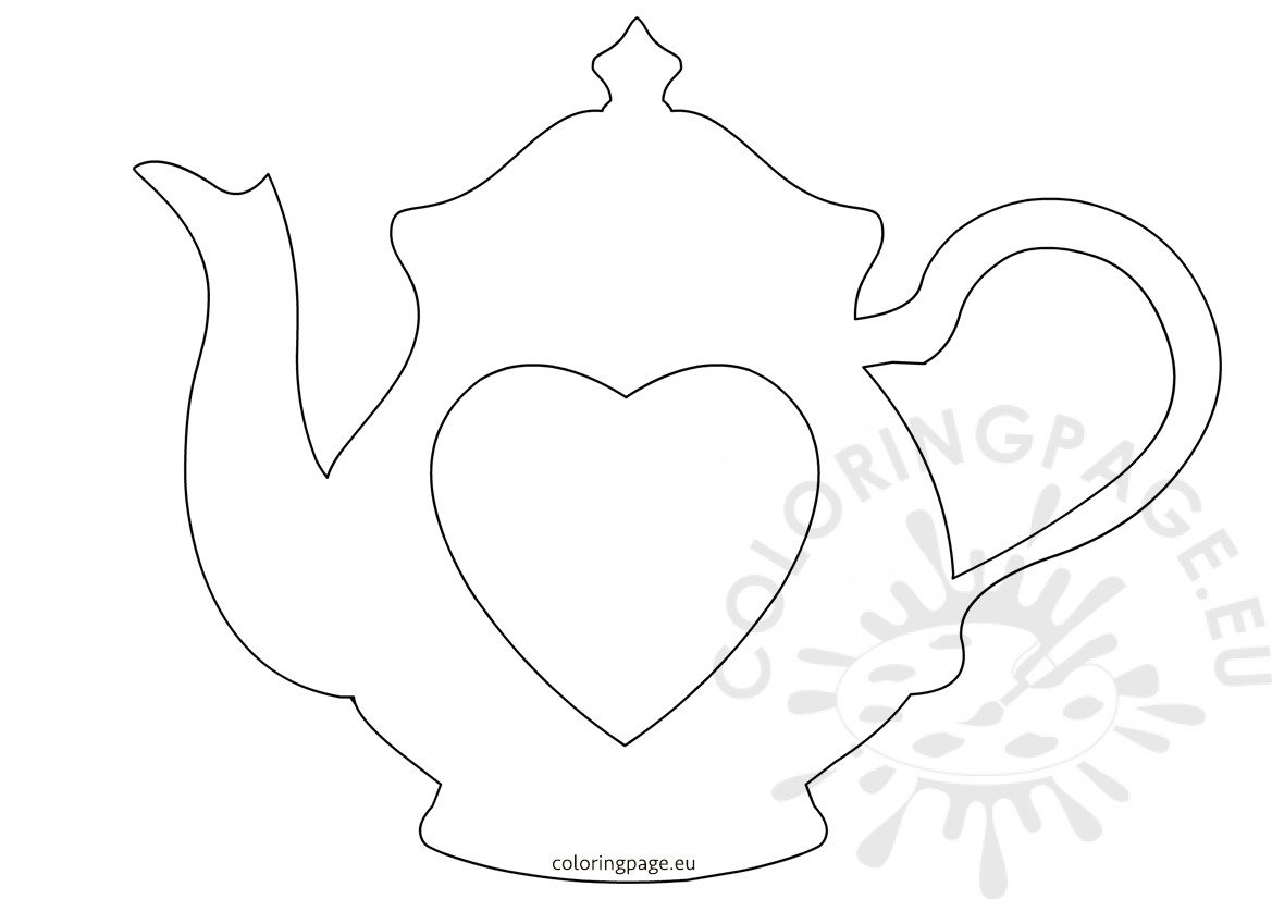 Teapot with heart printable outline for crafts