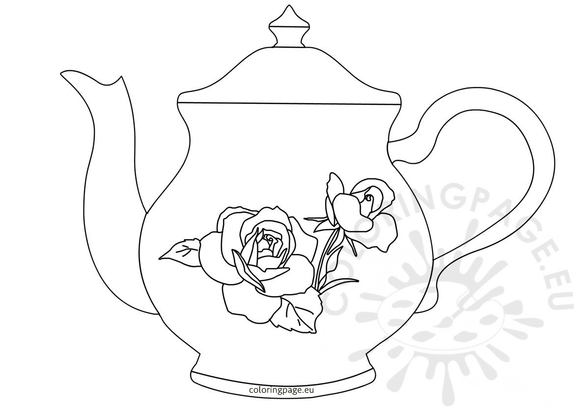 Teapot with Rose Pattern Coloring Page