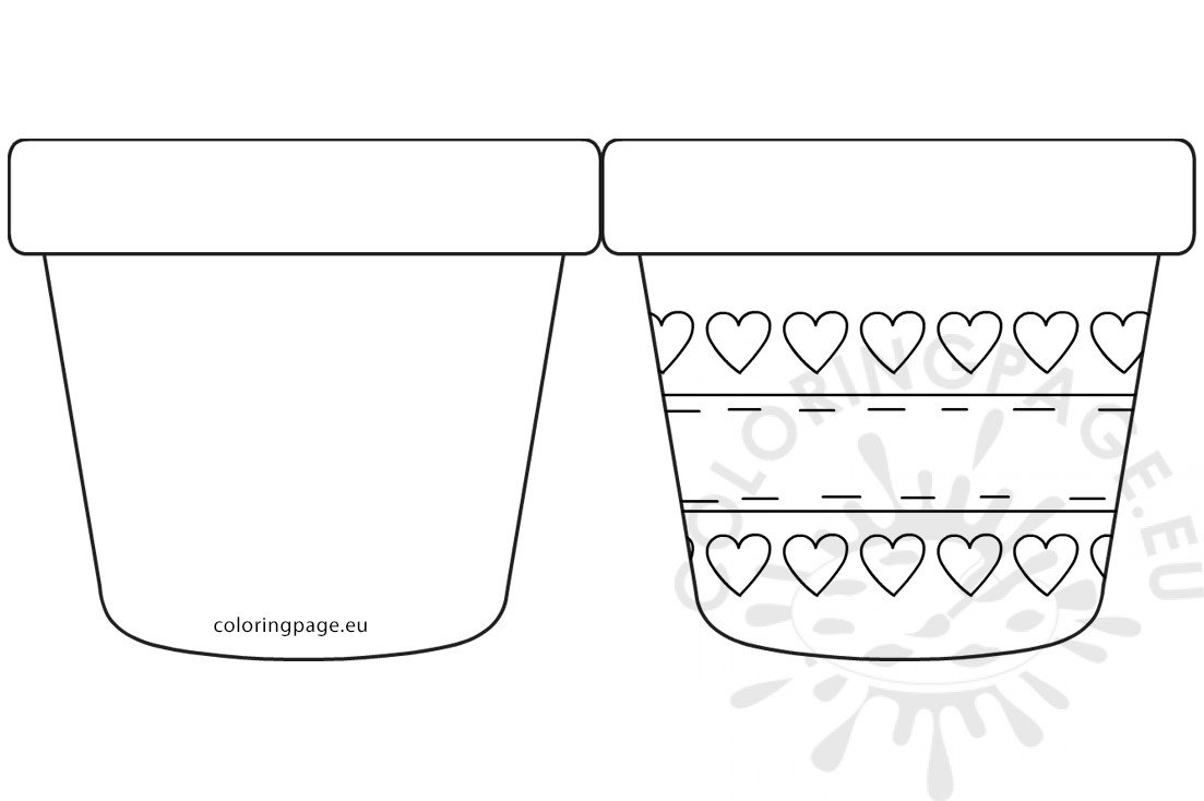 graphic about Flower Pot Template Printable called Moms Working day flower pot with hearts template Coloring Web page