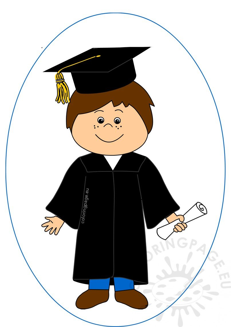 Happy boy celebrating graduation day clipart