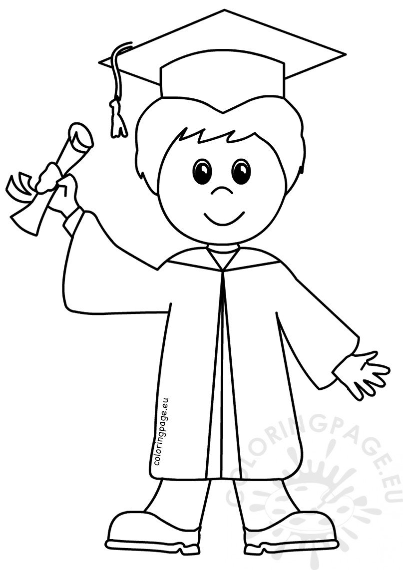 Graduation Boy Cartoon Coloring Page Coloring Page