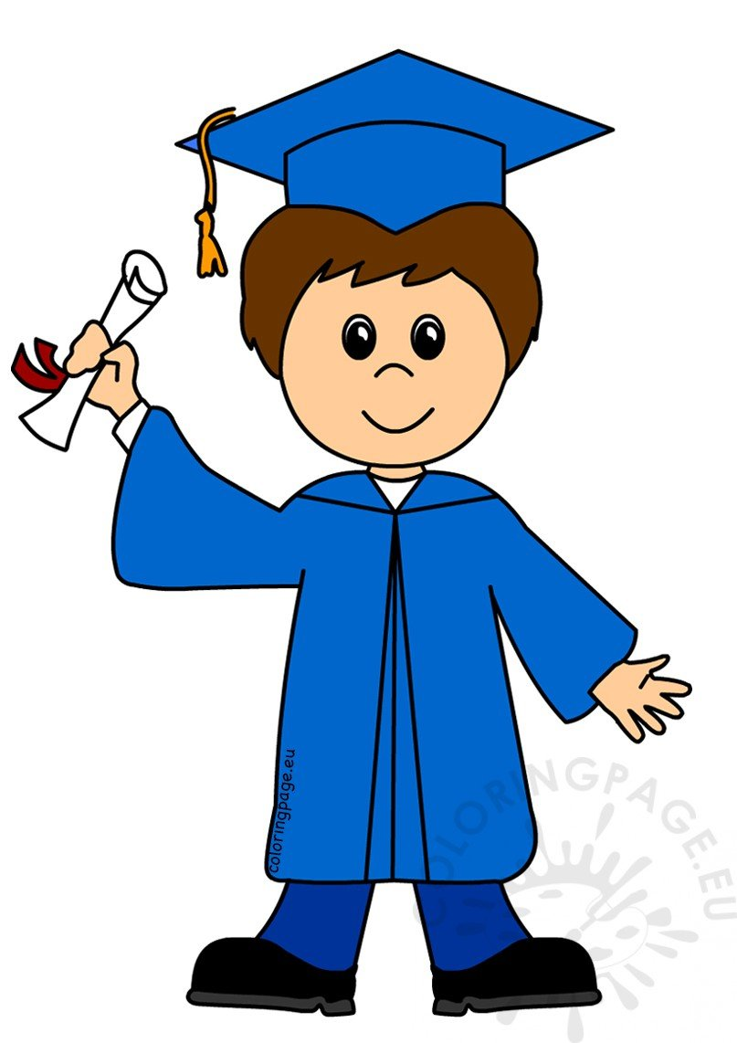 Happy Boy Graduate Cartoon Vector Illustration  U2013 Coloring Page