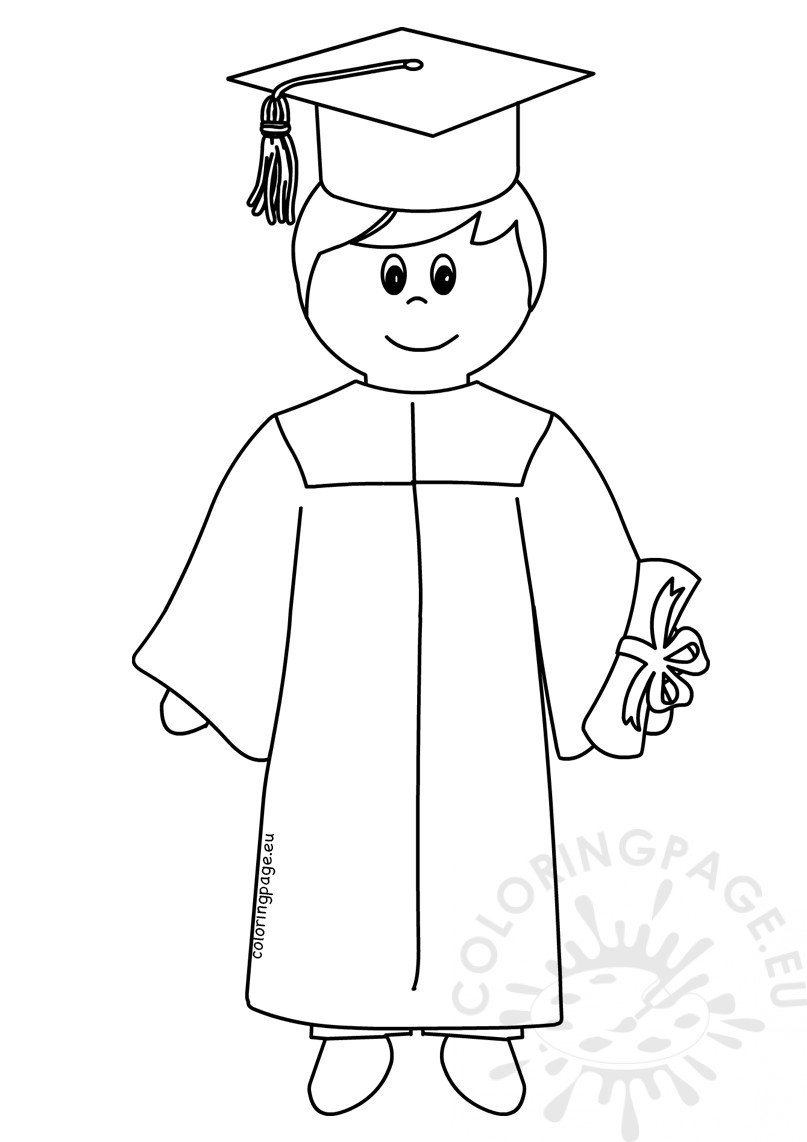 Student boy coloring pages ~ Student boy graduate coloring page – Coloring Page