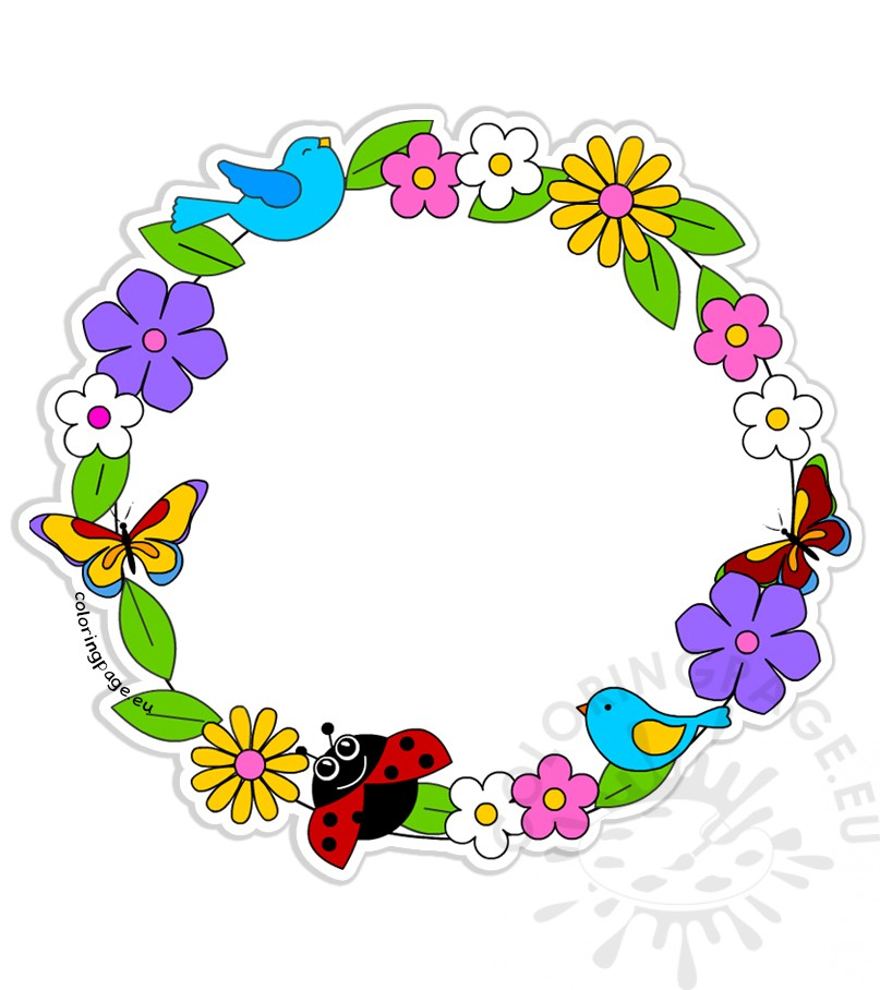 Rounder frame made of flowers butterflies and birds