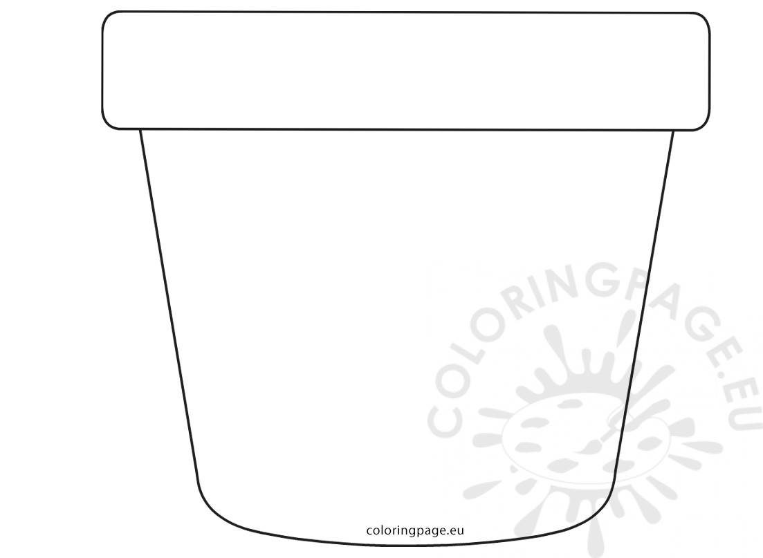 Flower Pot Template Sketch Coloring Page