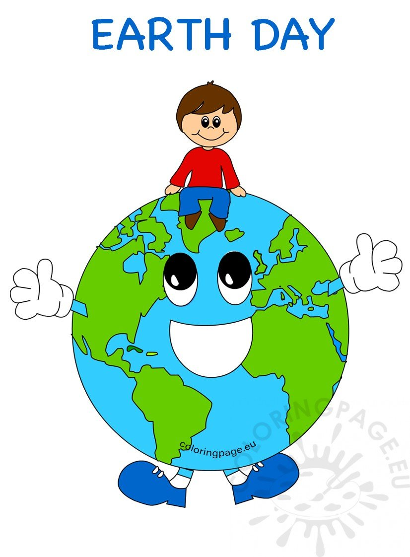 Earth Day kid on globe image