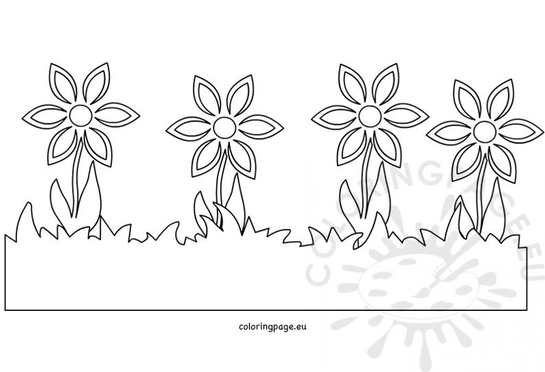 Spring grass and flowers border