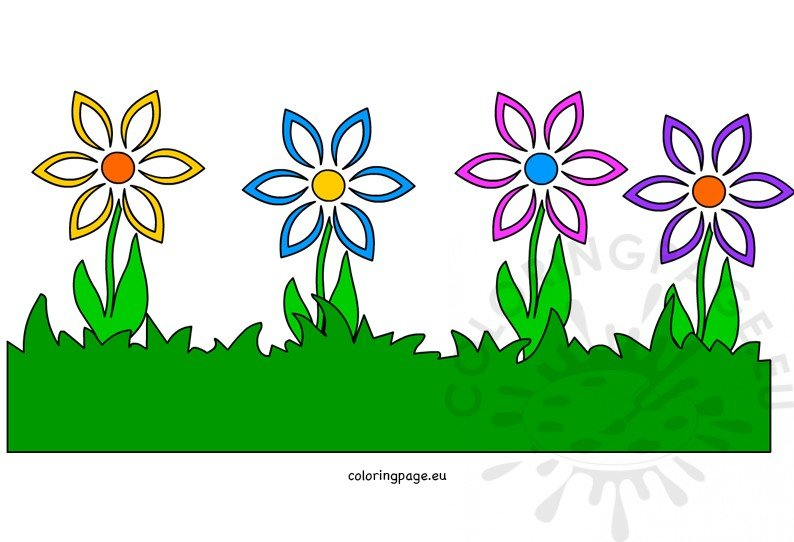 Grass with flower border image