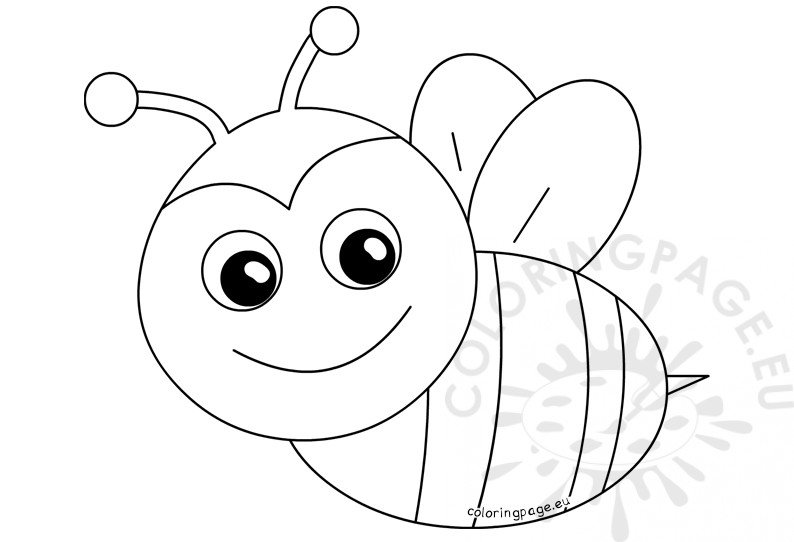Spring coloring pages Happy Bee