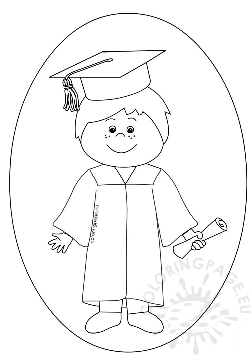 Boy Celebrating Graduation Day Clipart Coloring Page