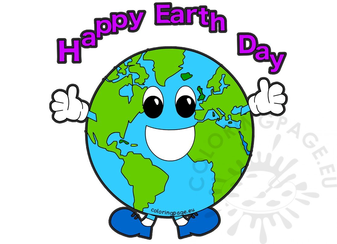 Happy Earth Day world globe cartoon