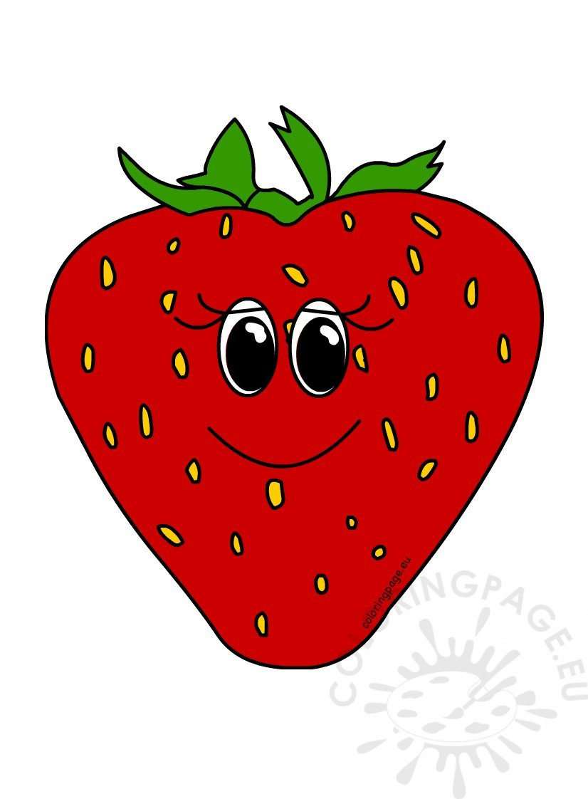 Happy Strawberry Fruit Cartoon Clipart Coloring Page
