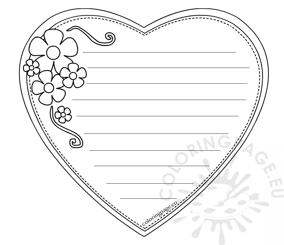 Heart shaped writing paper for mother 39 s day coloring page for Heart shaped writing template