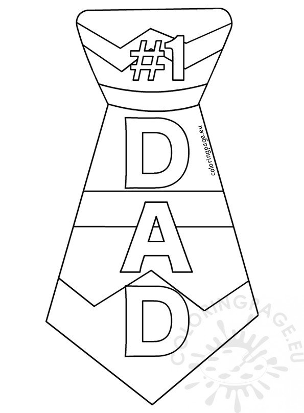 #1 Dad Tie Printable Template