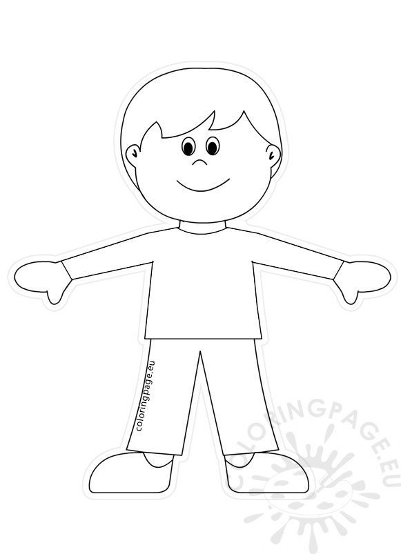 boy paper doll cut out template coloring page. Black Bedroom Furniture Sets. Home Design Ideas