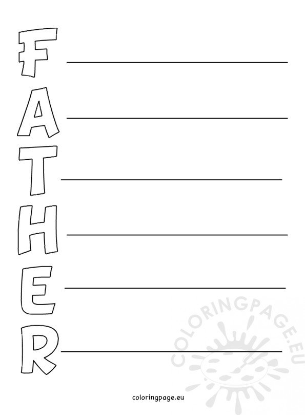 Father's day acrostic poem Printable