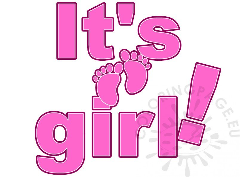It's A Girl Lettering Baby Shower