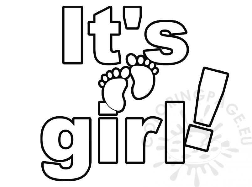 It's A Girl Lettering coloring page Baby Shower
