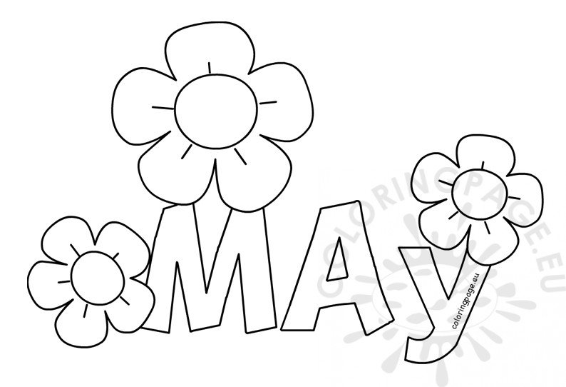 May Printable Month Coloring Sheet Coloring Page